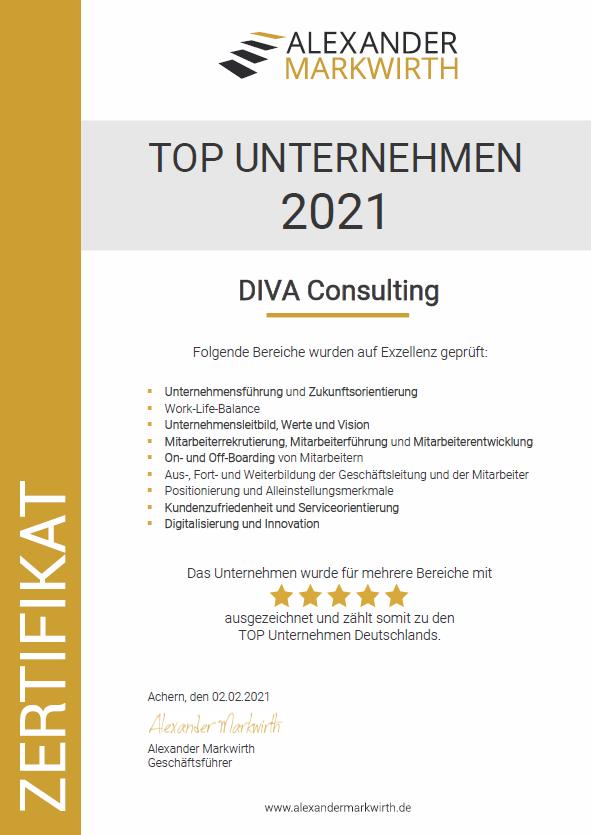 Zertifikat DIVA Consulting TOP Unternehmen